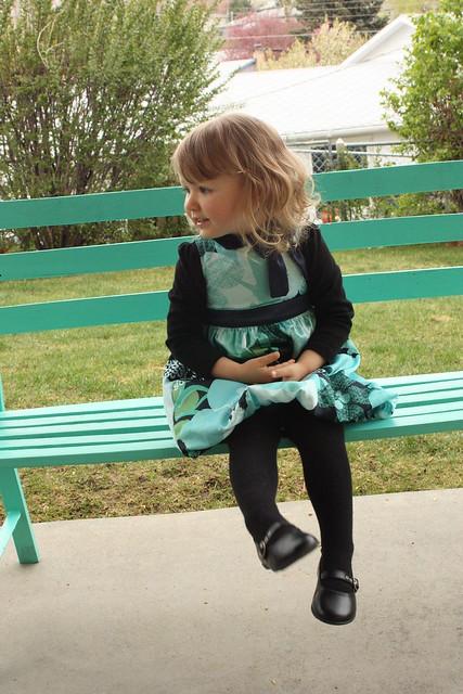 Cordelia on bench 2