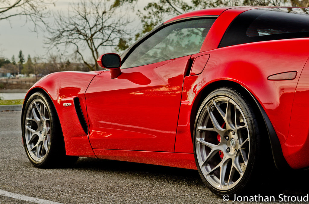 Red Corvette Z06 On Hre P40sc Conical In Brush Tinted