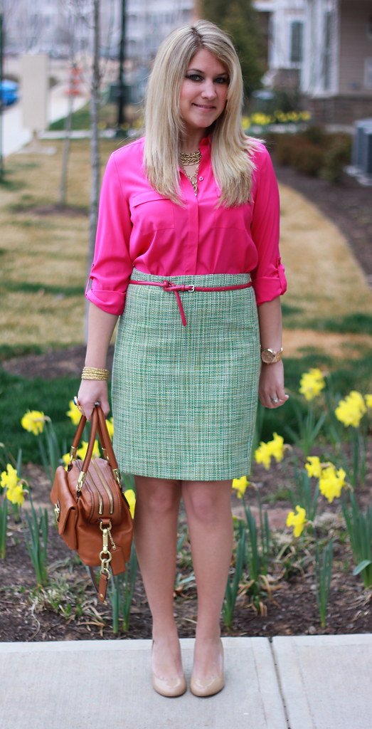 Pink and green tweed skirt office outfit