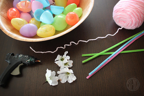 supplies for an Easter wreath
