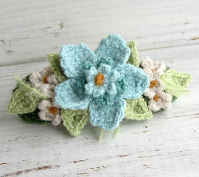 Crochet Hair Barrettes : Crochet Hair Barrette Aqua Blue and Turquoise with White Flowers - a ...