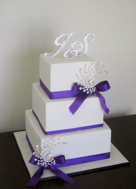 White and Purple Bling Wedding Cake Congratulations to Stacey and Justin