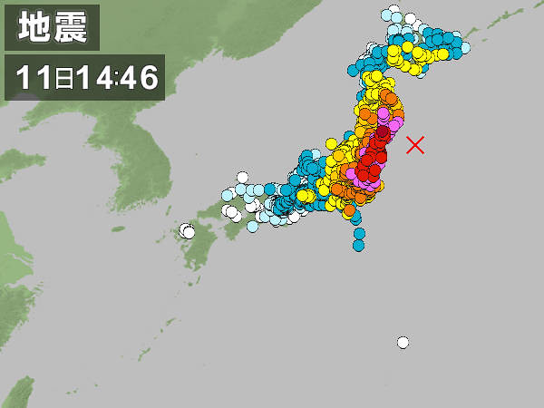 東日本大震災の各地の震度