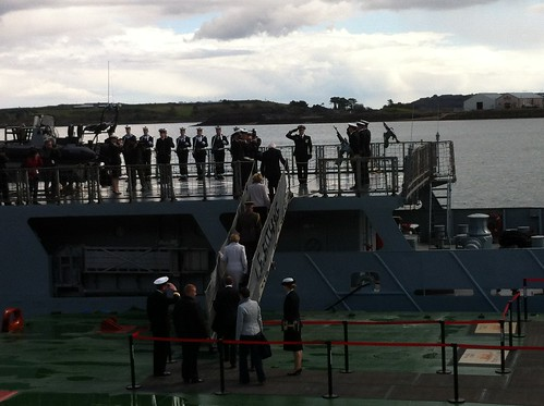 President Higgins boarding the L.E. Eithne in Cobh by despod