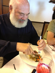 Dr. Weil enjoying the halibut