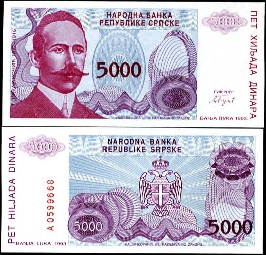 5000 Dinárov Bosna a Hercegovina (Srbsko), Pick 149