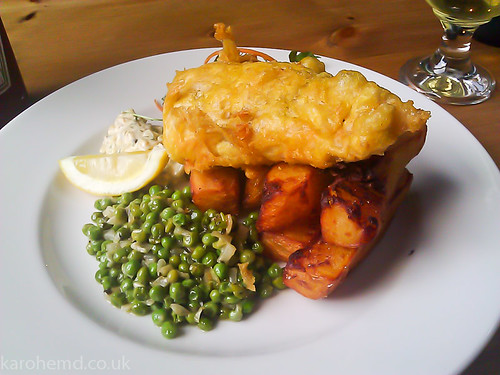 Beer battered hake, thrice cooked chips
