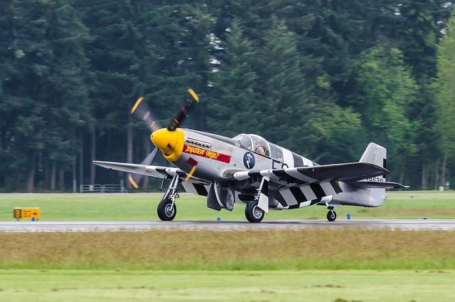 "Touchdown of P-51B Mustang ""Impatient Virgin"""