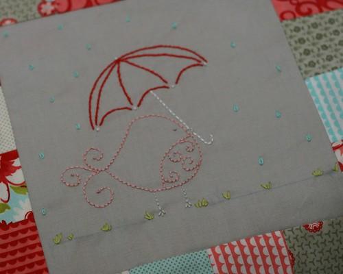 Ruby Bird Baby Quilt