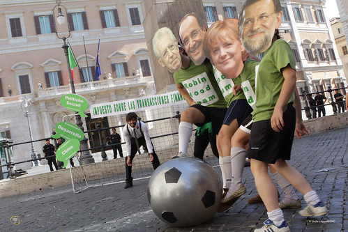 Robin Hood Tax stunt in Rome