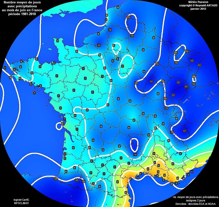 nombre moyen de jours avec pluie ou précipitations au mois de juin en France Reynald ARTAUD météopassion