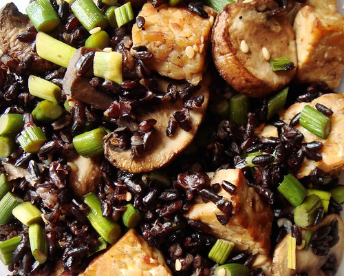 Stir Fried Black Rice with Tempeh, Garlic Scapes, Crimini