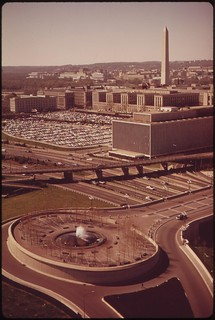 Southwest Washington, D.C. With South End Of L'Enfant Plaza In Foreground, Southwest Freeway, Department Of Agriculture And Washington Monument Beyond, April 1973