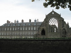Holyroodhouse from the rear, with the adjacent ruins of Holyrood Abbey, Edinburgh, Scotland