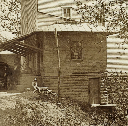 people usa history boys sepia kids buildings children waterfall hats indiana streams mills businesses mansfield parkecounty realphoto hoosierrecollections