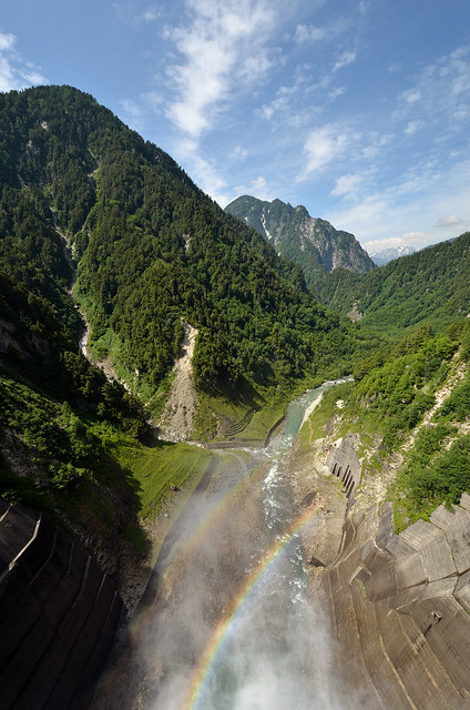 rainbow on kurobe dam
