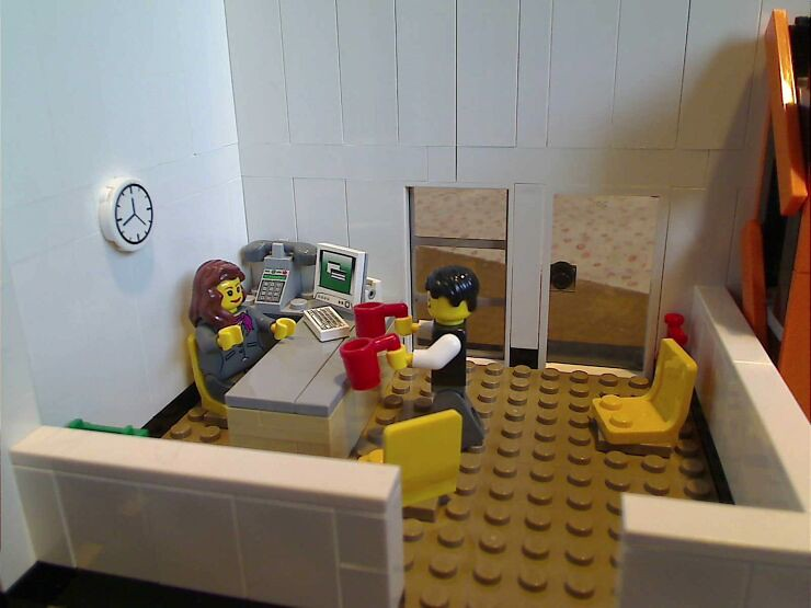 The reception area inside a LEGO® model of a warehouse