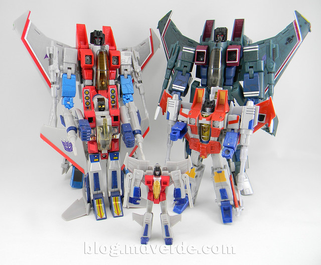 Transformers Starscream Masterpiece MP-11 - modo robot vs otros Starscream G1
