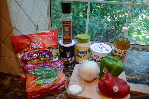 The required ingredients to make the cole slaw.
