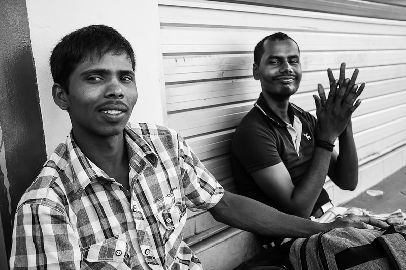 Friendly migrant workers at Little India.