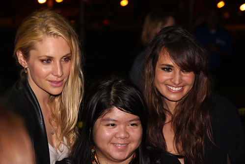 Casey LaBow and Mía Maestro with fan