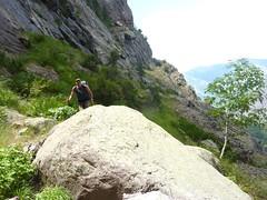 Vire de l'Andadonna : arrivée d'Eckard au 1er ravin à la fin de la descente de la 1ère partie