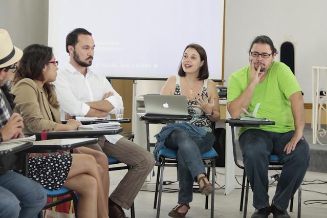 Guilherme Strozi (TV Brasil), Renata Mielli (Barão de Itararé) e Ivan Moares Filho (Fopecom). | Foto: Olívia Leite