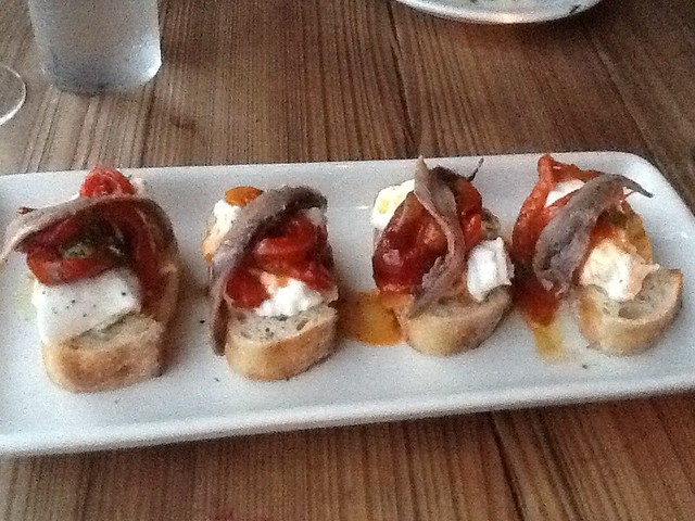 Anchovy & Burrata Toasts with Pepperonata, Capers, & Sherry 1