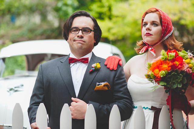 retro wedding bride and groom
