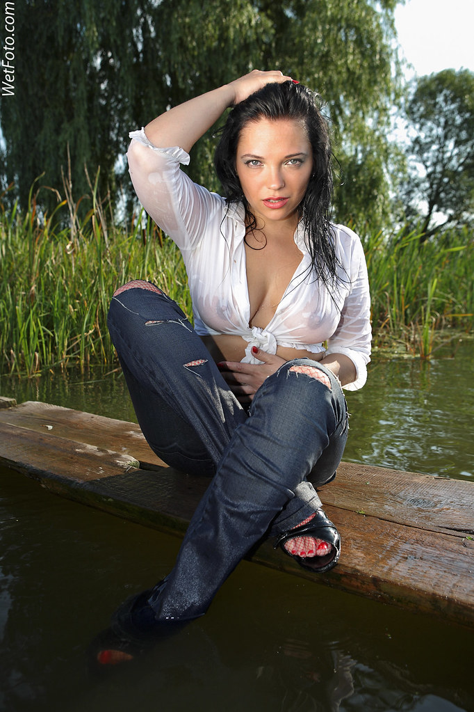 2153 Blue Tight Jeans Wetlook With Hot Girl Beautiful B