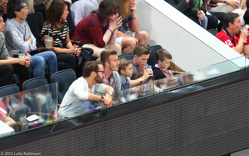 David Beckham and sons enjoy the action, USA Spain Olympic Basketball Final, August 12th 2012