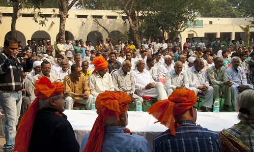 ILRI management and board hold discussions with a dairy farming community in Haryana, India