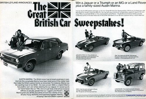 1974 British Leyland Austin Marina Jaguar TR6 MGB Land Rover Advertising Road & Track December 1974