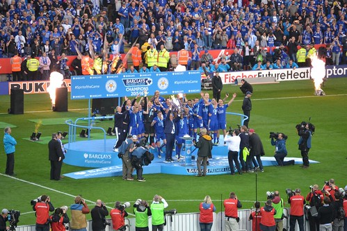 LCFC lift the Premier League Trophy