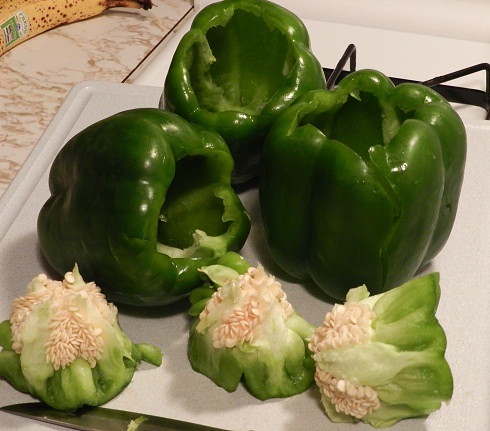 green peppers gutted