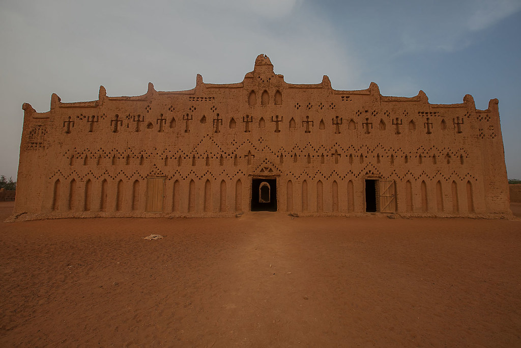 the great mud mosque in the bani in northern Burkina Faso, Sahel