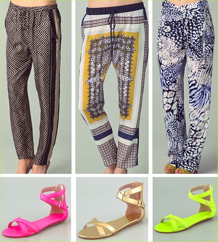 scarf trousers + Rebecca Minkoff gladiators