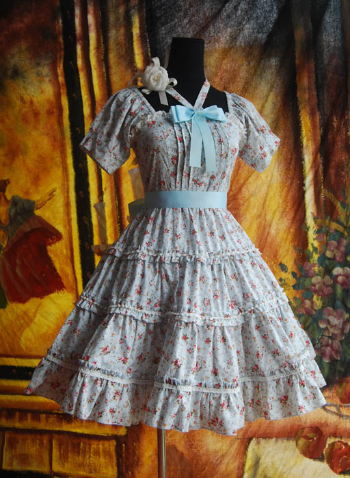 Infanta_Halter_Bowknot_Lace_Up_Printed_Cotton_Lolita_Dress_1