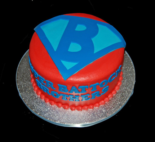 Red and blue Super B birthday cake