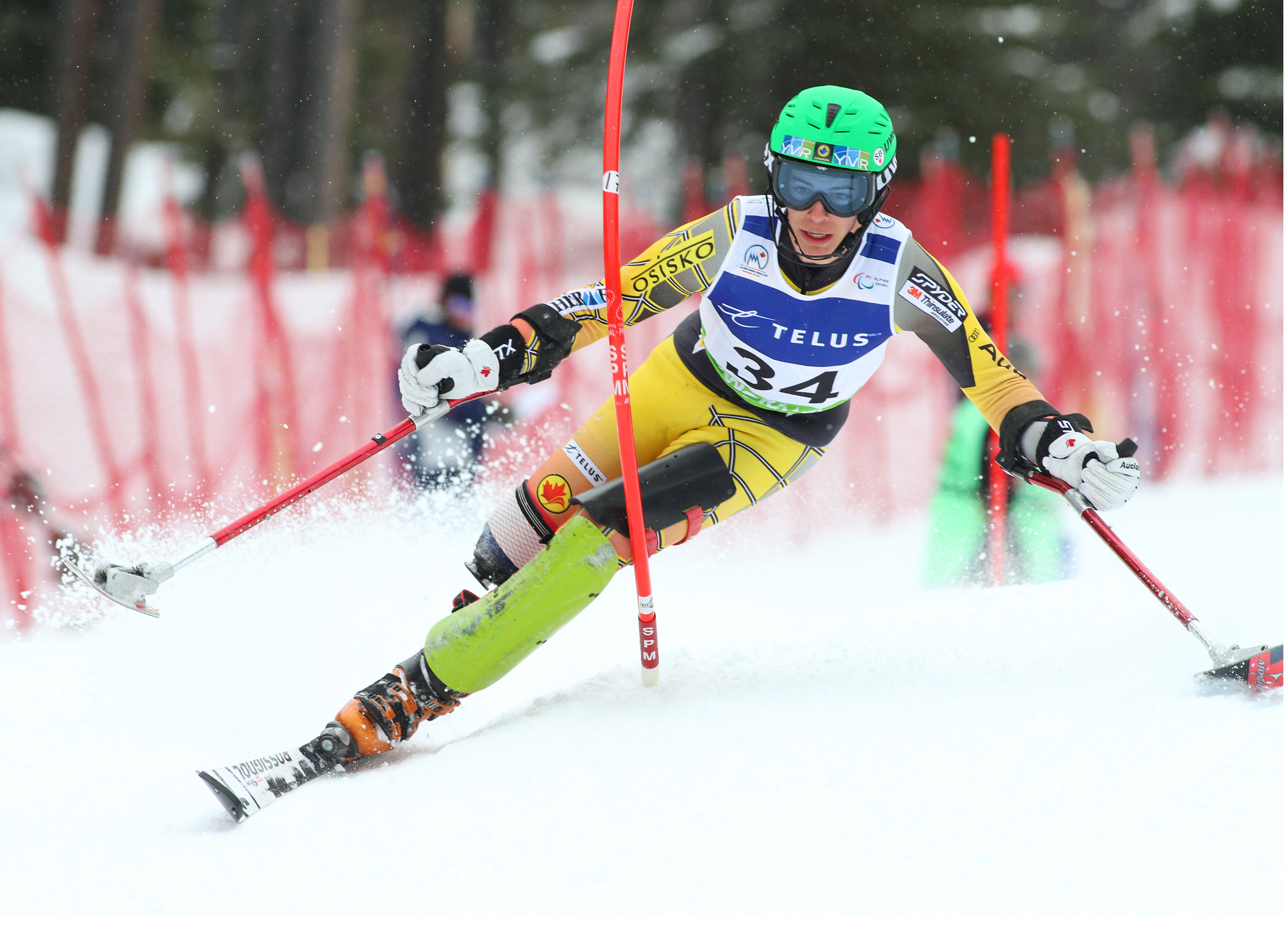 Braydon Luscombe in action in an IPC World Cup slalom in Panorama, B.C.