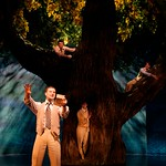 Dumaine (Eric Anderson) proclaims his love thru poetry as his compatriots peer down from a tree in the Huntington Theatre Company's production of Shakespeare's comedy,