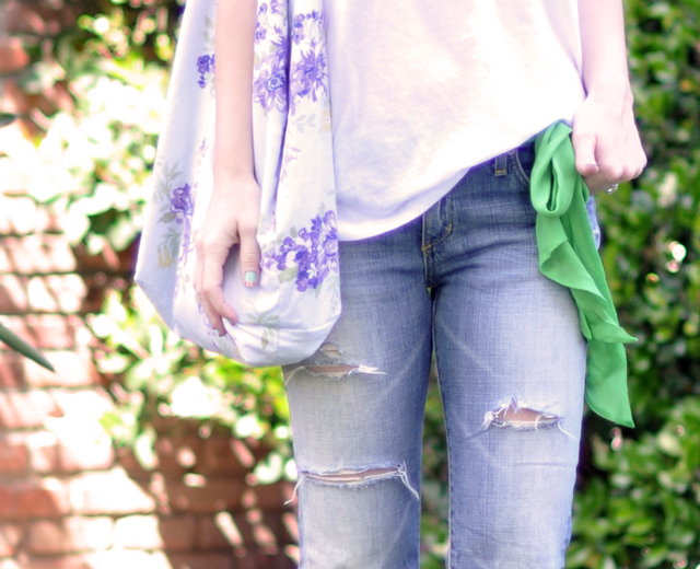 ripped jeans-white tee-scarf bow belt-floral bag