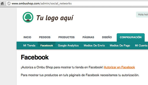 Autorizar a Ombu Shop en Facebook