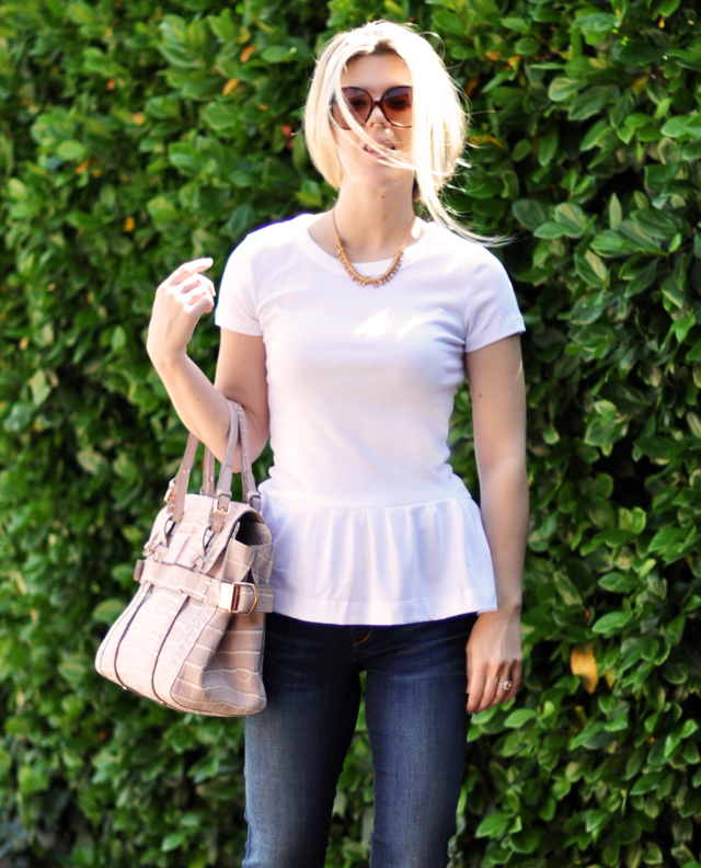 diy peplum t shirt and jeans