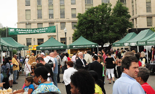 Foot traffic at the USDA Farmers Market.  Located on 12th and Independence Ave., SW, Washington, D.C., the market is a popular destination for local residents and visitors of the National Mall.