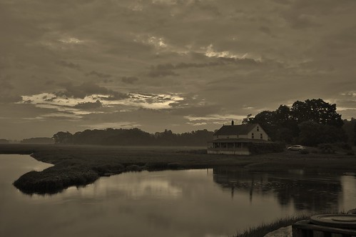 Essex at Dawn 4:31AM 6/23/12 The Burnham House and Essex Salt Marsh by captjoe06
