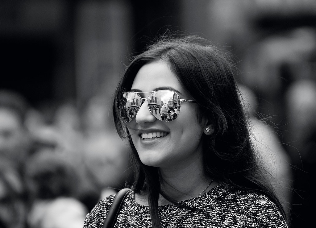 Candid Street Portrait Photography : The Shades, The Earing & The Smile