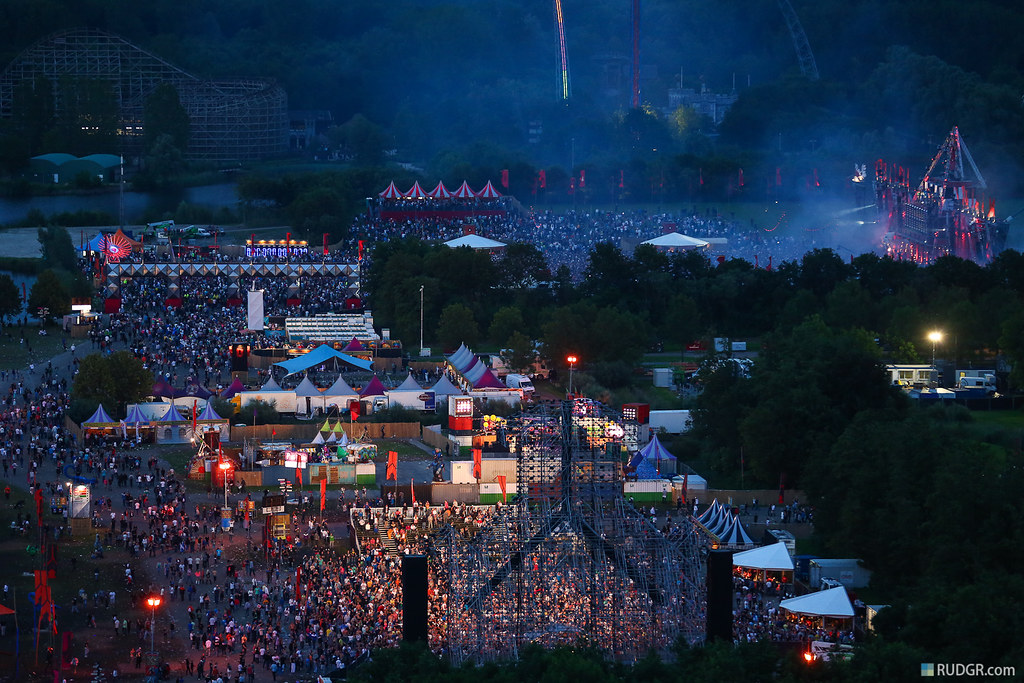 Defqon.1 at dusk from the heli