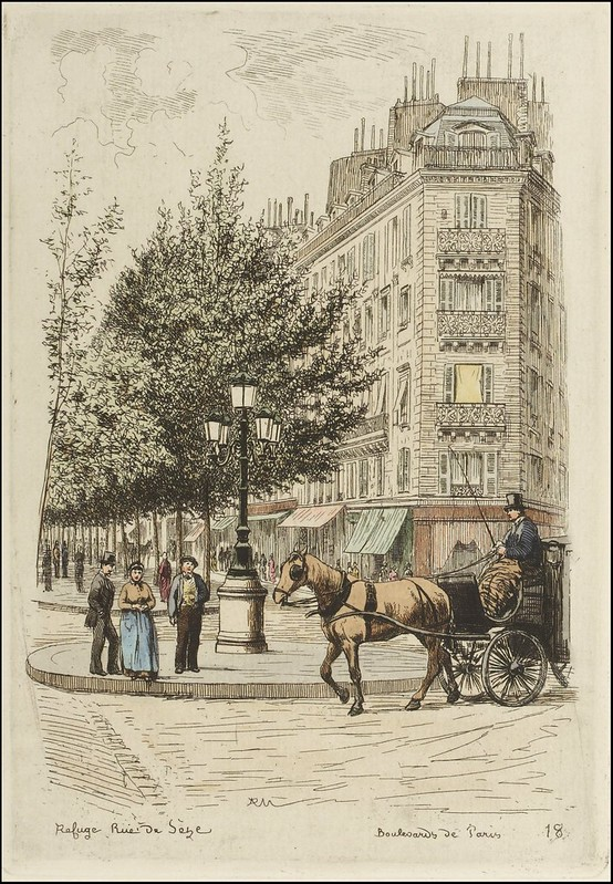 Paris street corner - horse & cab, pedestrians, 1877 etching book illustration