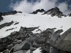 Snow ramp leading to false summit.